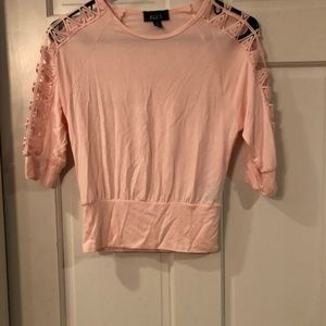 Light Pink Cold Shoulder Shirt